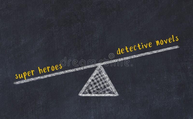 Schets van de schalen op de kartonnen plaat Concept van evenwicht tussen detective romans en super helden royalty-vrije stock afbeelding