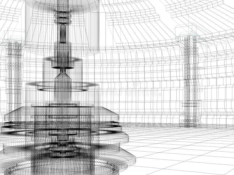 Schets van de technologiebouw vector illustratie
