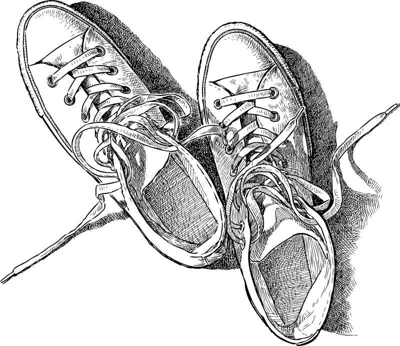 Schets van de tennisschoenen royalty-vrije illustratie