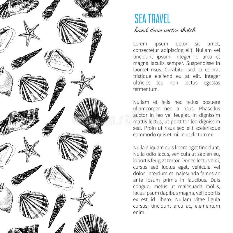 Schets van de zeeschelp de hand getrokken vectordieets op witte achtergrond, decoratief kader, onderwater mariene textuur wordt g stock illustratie