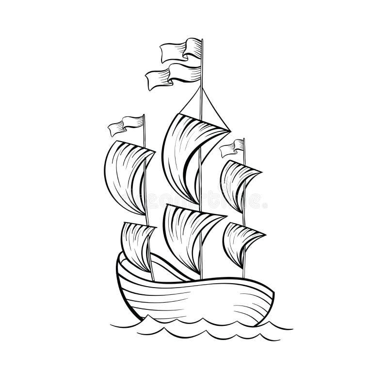 Schets van de zeilboot de zwarte inkt vector illustratie