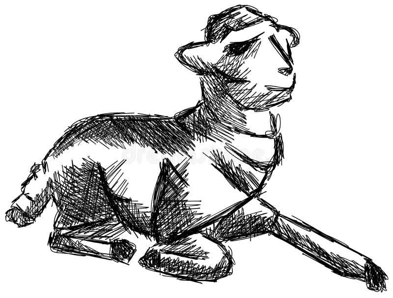Schets van een gestileerd geïsoleerd lam stock illustratie