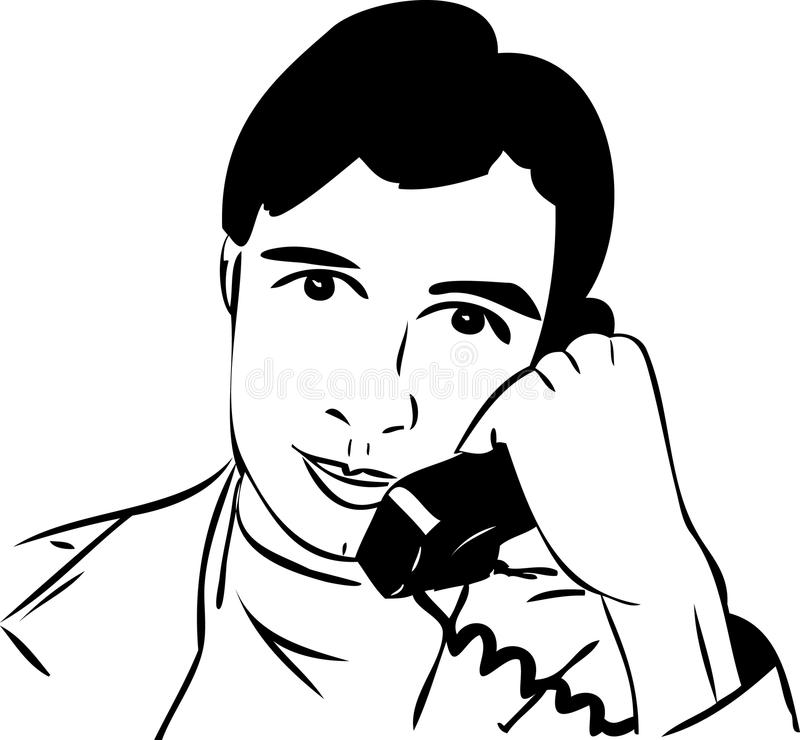 Schets van een kerel die op de telefoon spreekt stock illustratie