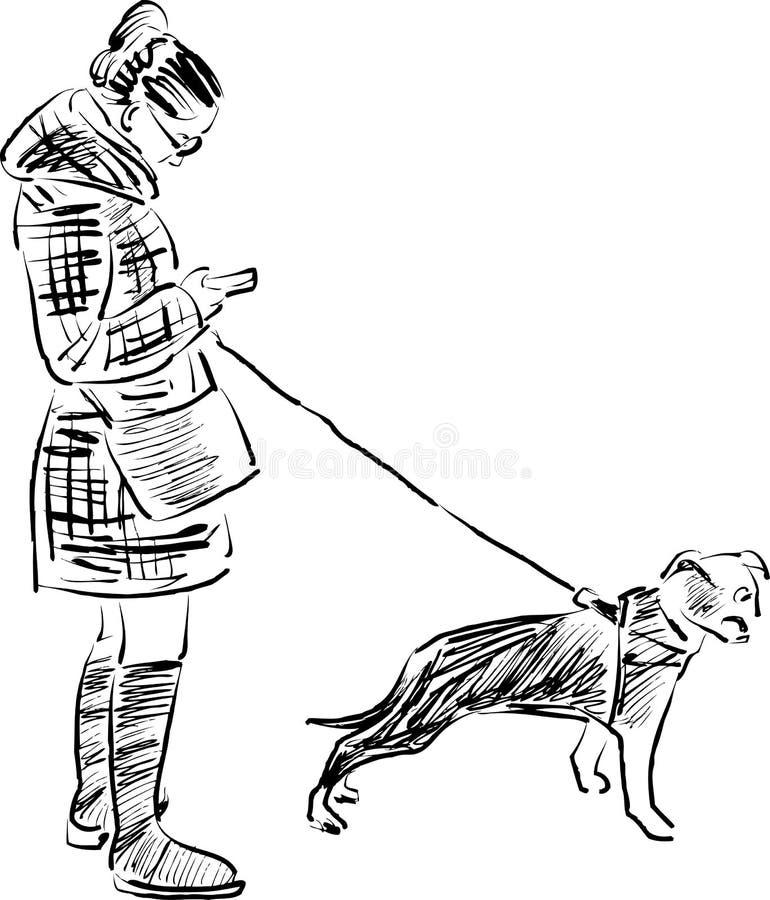 Schets van een meisje met haar hond stock illustratie