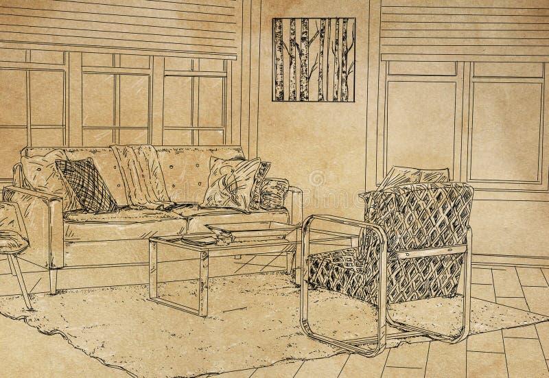 Schets van een Modern Huisbureau stock foto