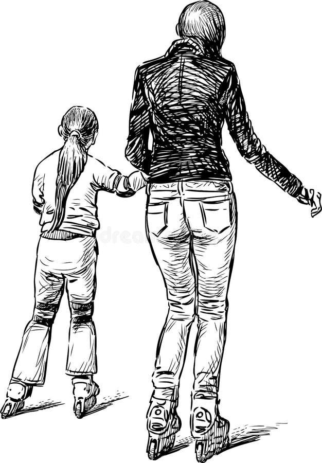 Schets van een moeder met haar dochter die de rollenvleten berijden vector illustratie