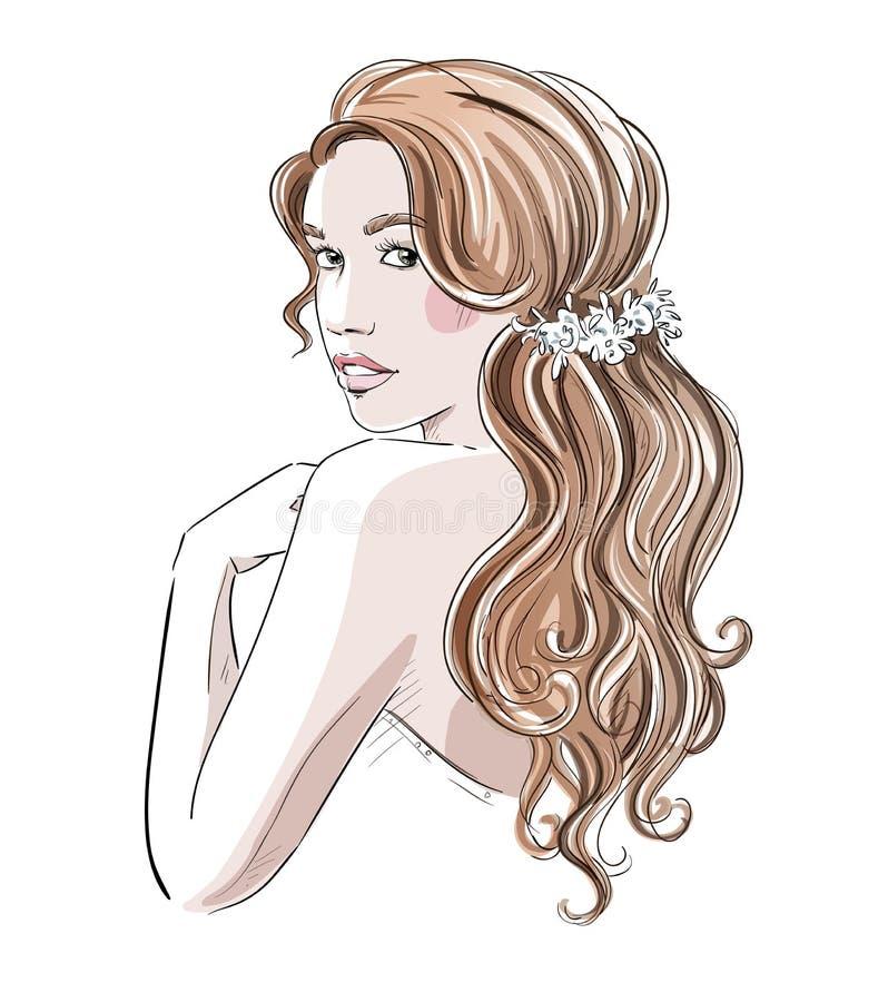 Schets van een mooi meisje met bruids kapsel Manier illust stock illustratie