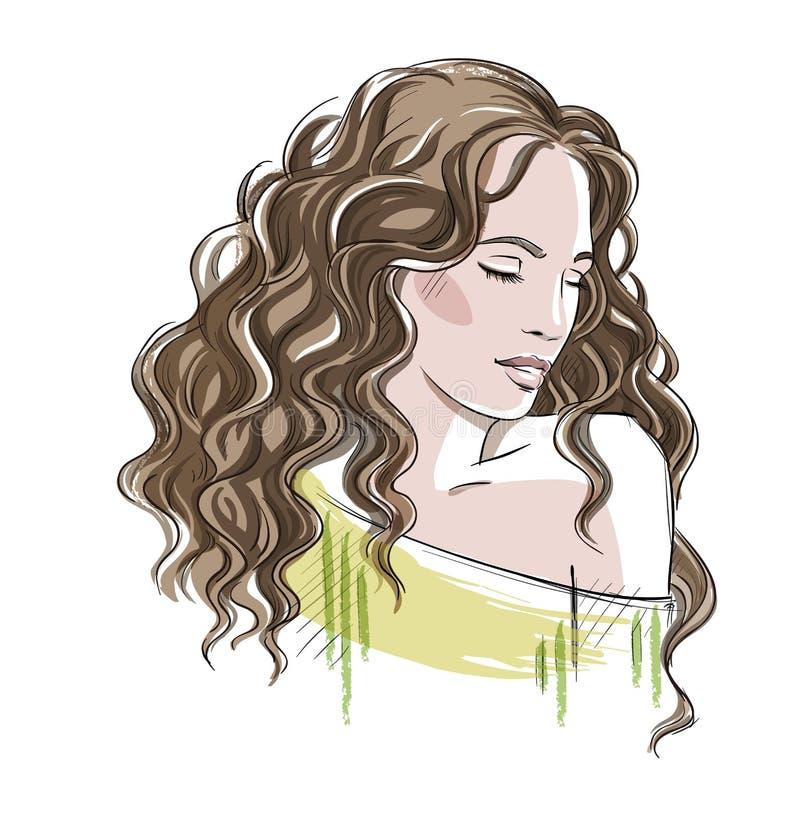 Schets van een mooi meisje met krullend haar De illustratie van de manier stock illustratie