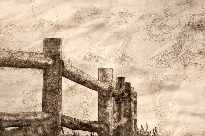 Schets van een Omheining in de Mist royalty-vrije illustratie