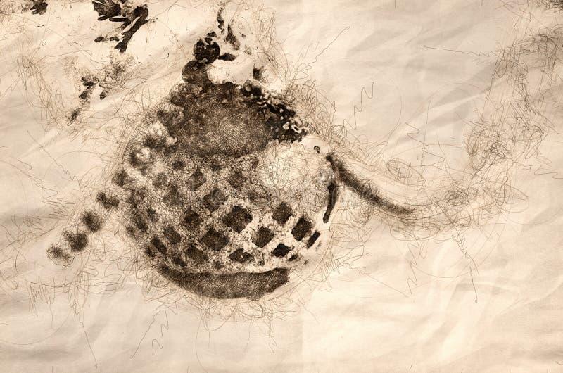 Schets van een Sneeuw Behandeld Kerstmisornament die op een Openluchtboom hangen vector illustratie