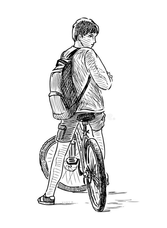 Schets van een tienerjongen op een fiets vector illustratie