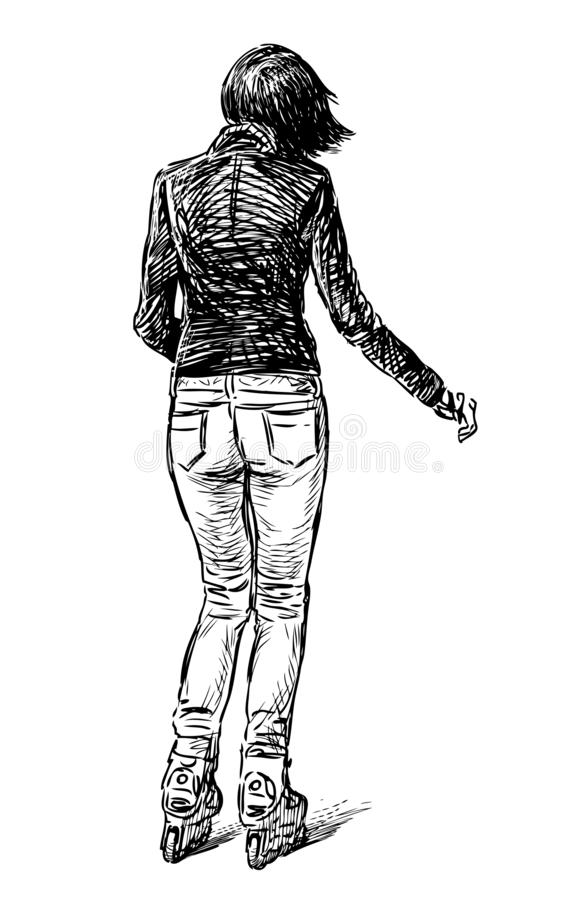 Schets van een toevallige stadbewoonster die op de rollen schaatsen vector illustratie