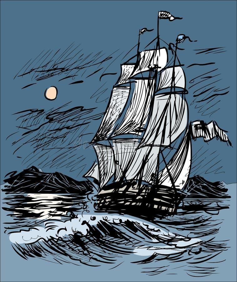 Schets van een varend schip in het nachtoverzees vector illustratie
