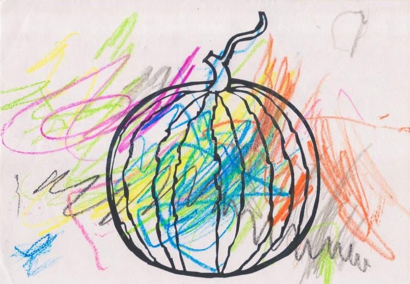 Schets van een watermeloen met kleurrijke kleurpotloden wordt gevuld dat vector illustratie