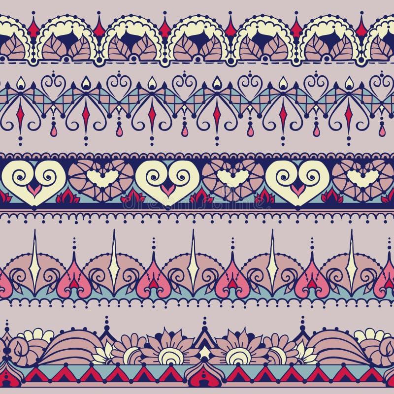 Schets van eindeloze strepen in de stijl van de hennatatoegering Naadloos Geklets vector illustratie