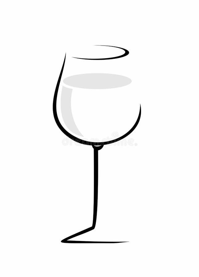 Schets van geïsoleerd wijnglas op een witte achtergrond stock illustratie