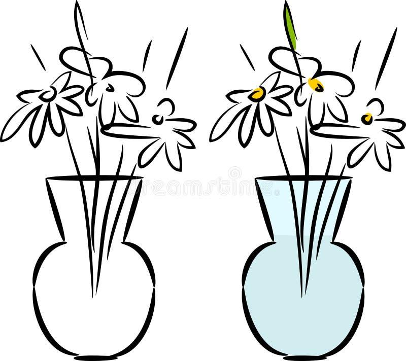 Schets van glasvaas met madeliefjes vector illustratie