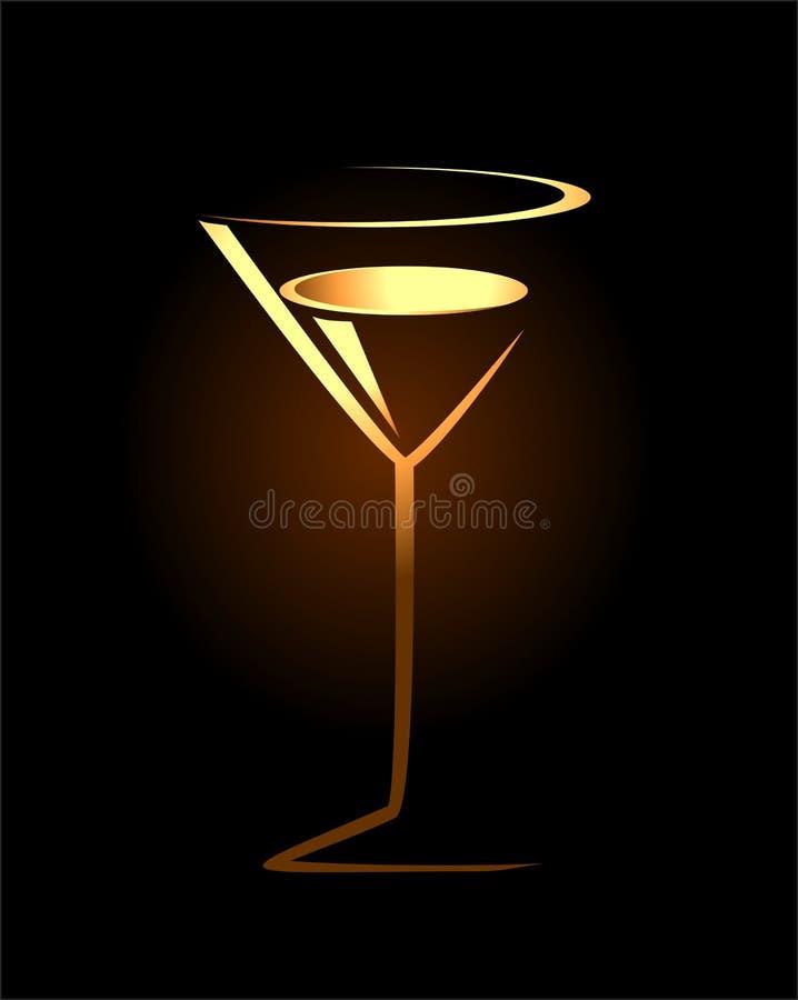 Schets van gouden cocktailglas vector illustratie