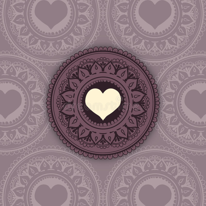 Schets van het hart van de tatoegeringshenna royalty-vrije illustratie