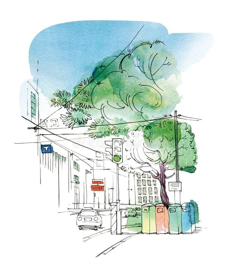Schets van het stadslandschap met een auto, verkeerslichten en tanks voor gescheiden inzameling van huisvuil vector illustratie