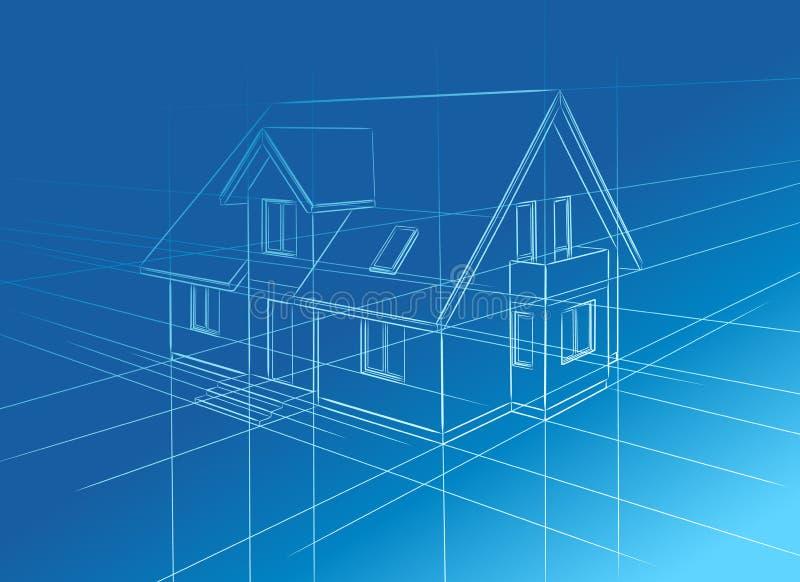 Schets van huis stock illustratie
