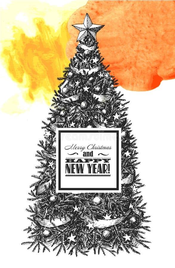 Schets van Kerstboom vector illustratie