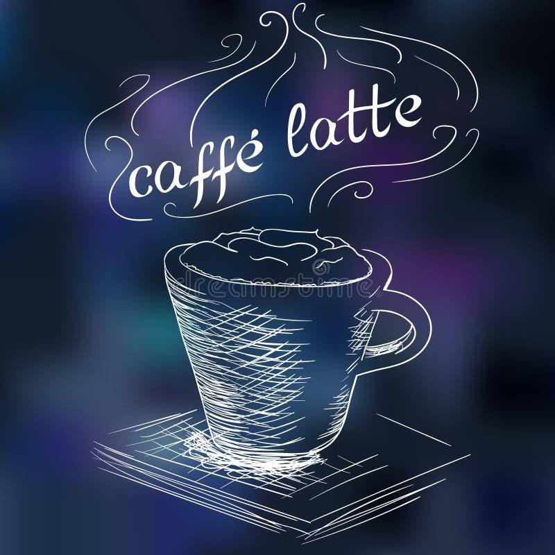 Schets van koffie latte vector illustratie