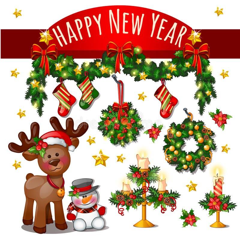 Schets van Leuke Kerstkaart met Rode Lintboog, Herten, Sneeuwman, Gouden Sterren Nieuwjaarkaarsen, Klassieke Kerstmis stock illustratie