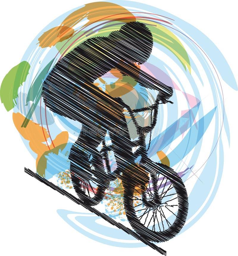 Schets van Mannetje op een fiets royalty-vrije illustratie