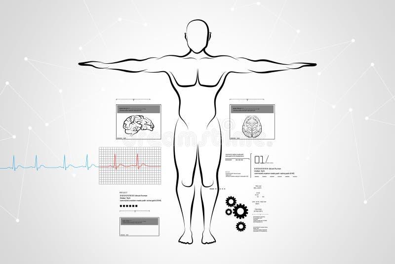 Schets van menselijk lichaam royalty-vrije illustratie