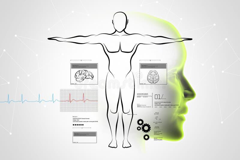 Schets van menselijk lichaam vector illustratie