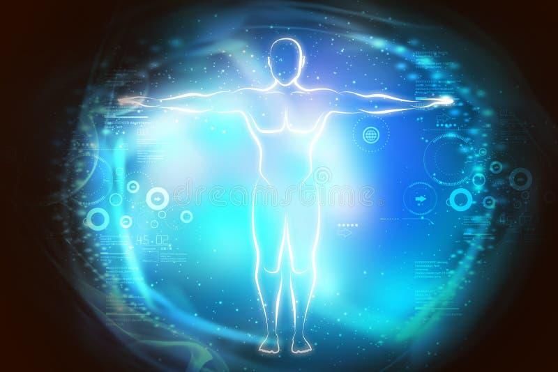 Schets van menselijk lichaam in licht royalty-vrije illustratie