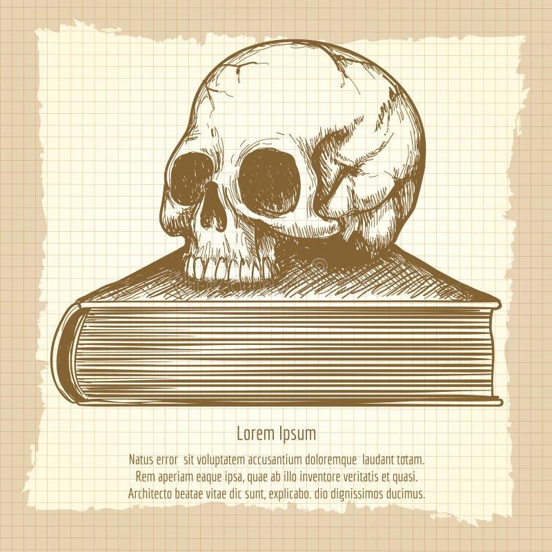 Schets van menselijke schedel op boek stock illustratie