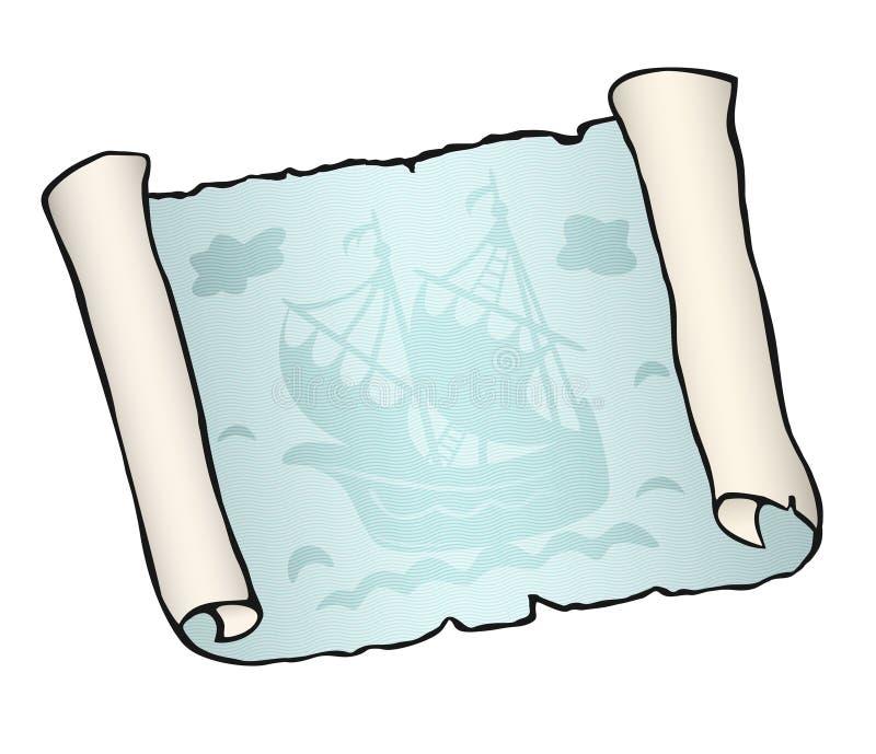 Schets van oude die rol met schip, op witte achtergrond, zeilboot wordt geïsoleerd die op blauwe golven drijven vector illustratie