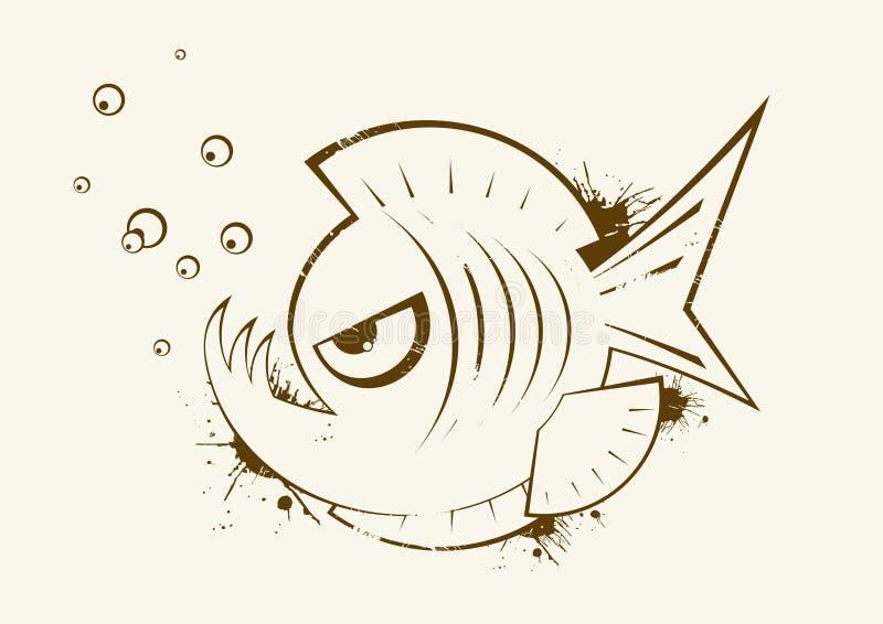 Schets van piranha stock illustratie