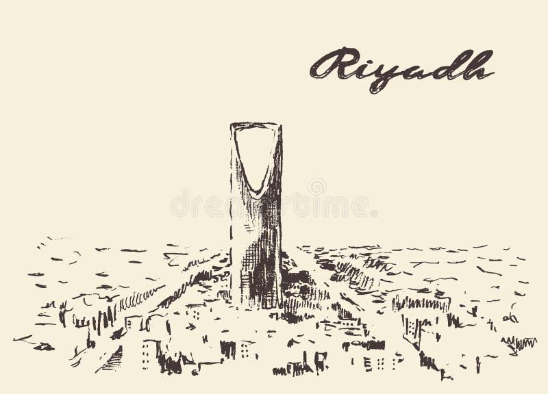 Schets van Riyadh getrokken horizon vectorillustratie royalty-vrije illustratie
