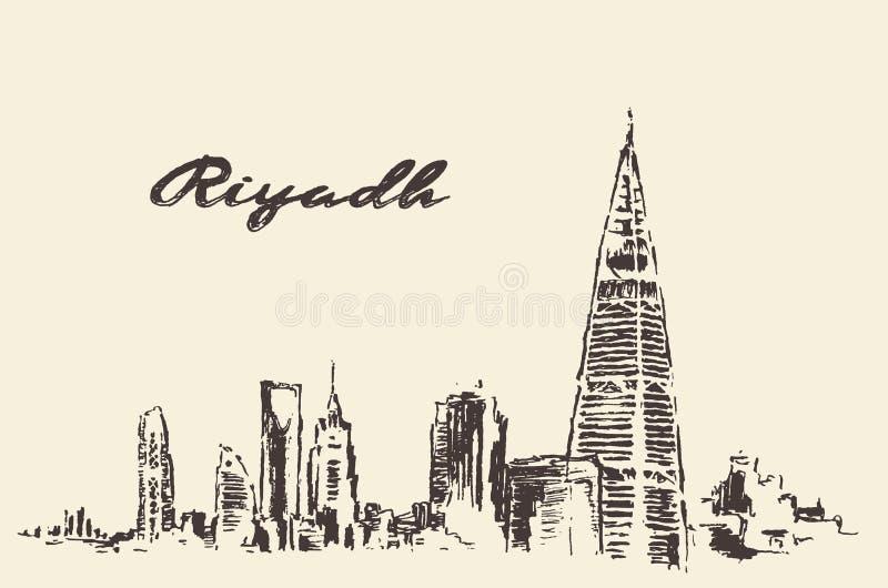 Schets van Riyadh getrokken horizon vectorillustratie vector illustratie