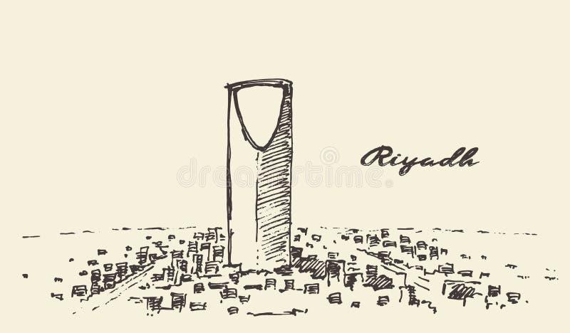 Schets van Riyadh getrokken horizon vectorillustratie stock illustratie