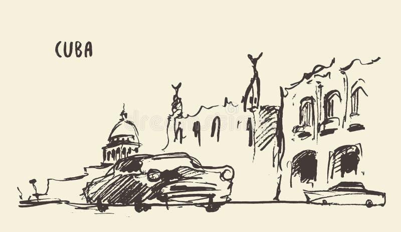 Schets van straten in Cuba Vector illustratie stock illustratie