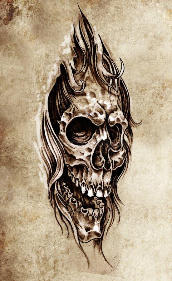 Schets van tatoegeringskunst, schedel hoofdillustratie royalty-vrije illustratie