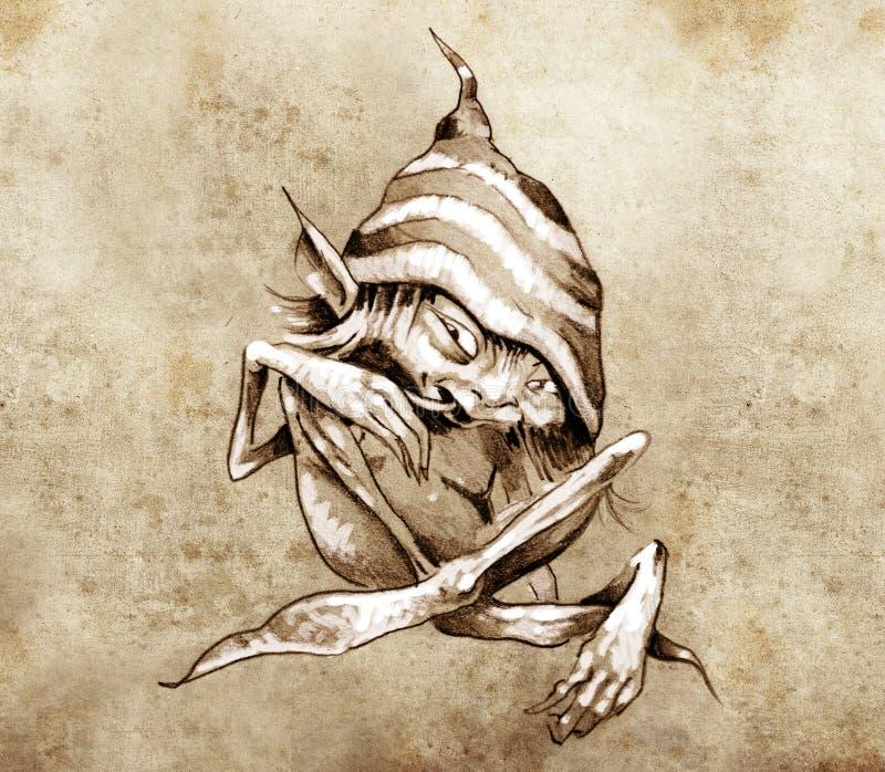 Schets van tatoegeringskunst, weinig gnoom met grappige hoed vector illustratie