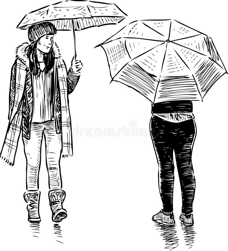 Schets van tienerjarenmeisjes die in de regen samenkomen royalty-vrije illustratie