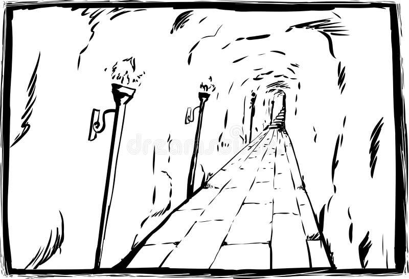 Schets van toortsen in ondergrondse passage stock illustratie