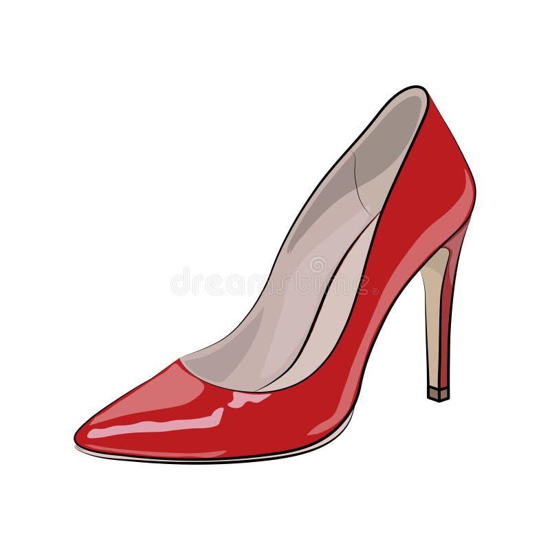 Schets van vrouwen rode schoen Vector royalty-vrije illustratie