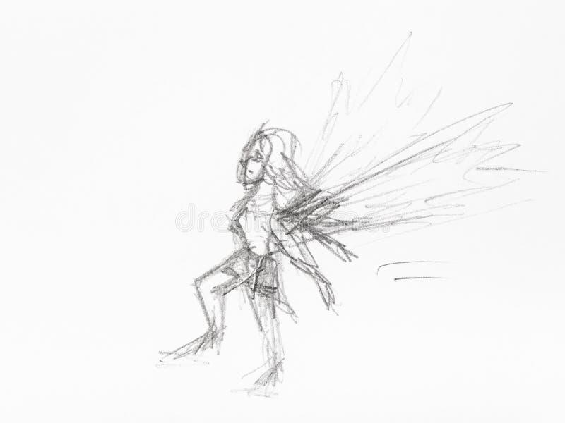 Schets van weinig die feehand door zwart potlood wordt getrokken vector illustratie
