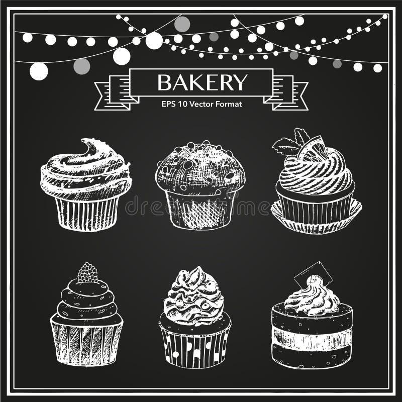 Schets van zoete gebakken goederen, muffins, cupcakes royalty-vrije illustratie