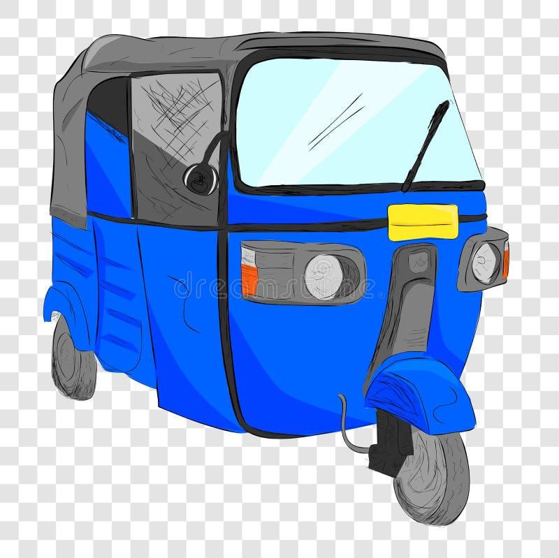 Schets vlakke kleur van blauwe bajaj, één van lokaal economisch openbaar vervoer in India en Indonesië bij transparante effect ba vector illustratie