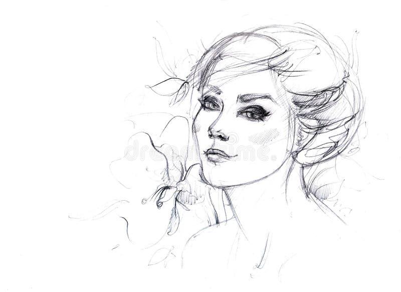 Schets voor een portret stock illustratie