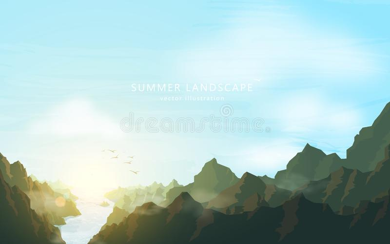 Schetsachtergrond met in openlucht Rivier en bergen op blauwe hemelachtergrond Vectorreisaffiche met aardheuvels Vakantie en de z vector illustratie