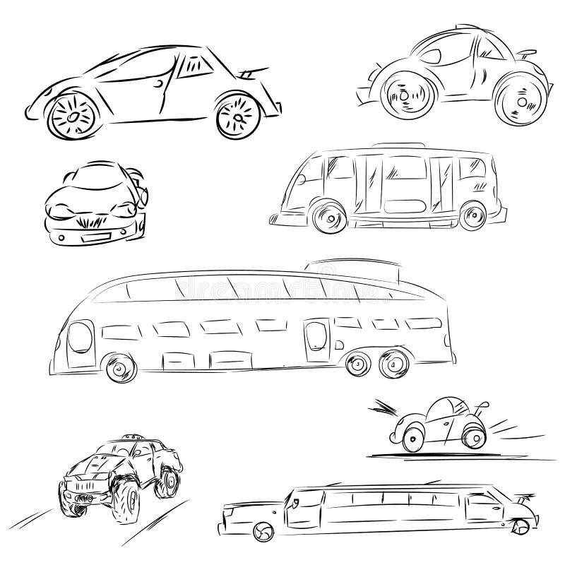 Schetsauto's en bus in reeks Automobiele krabbelillustratie Rast vector illustratie